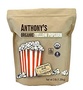 USDA Certified Organic UnPopped Yellow Popcorn Kernels 100% Grown and Packaged in USA Non-GMO and Gluten Free Premium Popping and All Natural Plant Based Snack Use on Stovetop, Electric Popper or Air Popper. Pop on Popper.