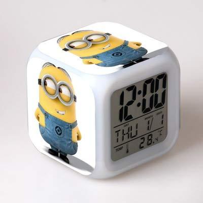 Color digital LED 7 colores intermitentes despertador despertador dormitorio de los niños reloj de luz nocturna