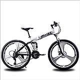 AISHFP Pliable VTT, Plage Motoneige Vélo, vélo Double Disque de Frein, 26 Pouces Vélos en Alliage d'aluminium, Homme Femme But général,Blanc,27 Speed