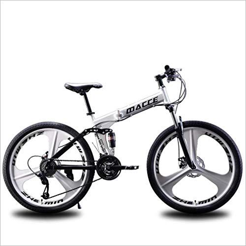 AISHFP Plegable Bicicleta de montaña, Motos de Nieve Playa de Bicicletas, Bicicletas de Doble Disco de Freno, Bicicletas 26 Pulgadas de aleación de Aluminio Ruedas