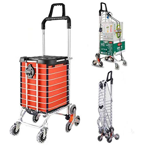 Zusammenklappbarer Einkaufswagen Trolley Dolly Grocery Utility Kletterwagen mit Rad Leichter Rahmen aus Aluminiumlegierung mit größerer Aufbewahrung für Treppensteiger für ältere Menschen A/Orange