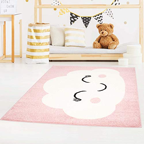 carpet city Kinderteppich Bubble Kids Flachflor mit Wolken-Motiv in Rosa für Kinderzimmer; Größe: 120x160 cm