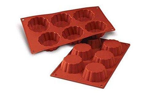 SF035 Molde de Silicona Forma Brioche Acanalado 6 cavidades en Color Terracota