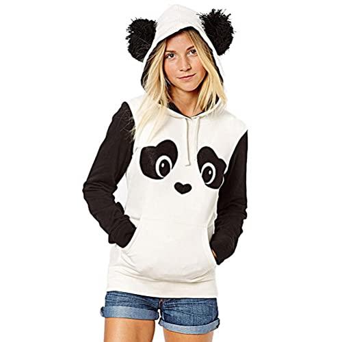 Smosyo Panda - Suéter de invierno con capucha para adolescentes y niñas, cálido oso panda con oso panda