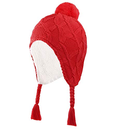 Connectyle Little Boys Earflap Winter Hats Knit Kids Hat Sherpa Lined Beanie Skull Cap Snow Hat Red