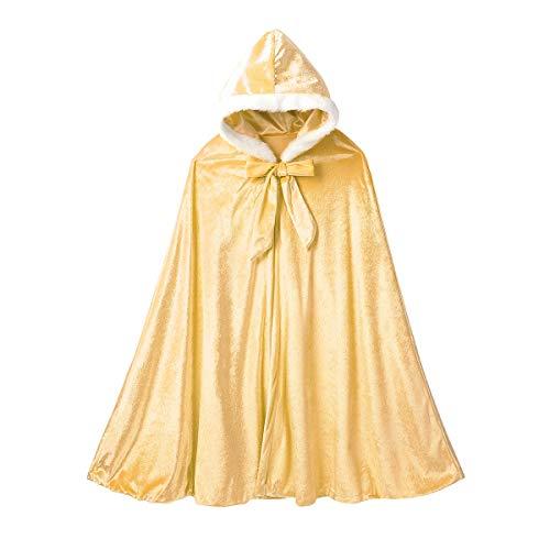 Zaldita Pajarita de terciopelo para niñas y niños, con capucha, larga y cálida, ideal para fiestas temáticas, de 6 a 10 años, color amarillo