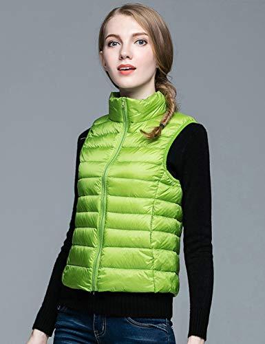 GUOYANGPAI Winter Damen Daunenweste, Damen Ultraleichte Daunenweste Jacke, Herbst Winter Ärmelloser Mantel,Grün,XL