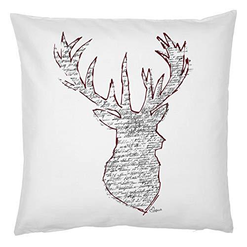 Kussen van echt leuk klederdracht-motief, decoratief sofakussen met vulling, hert, klederdracht-feest