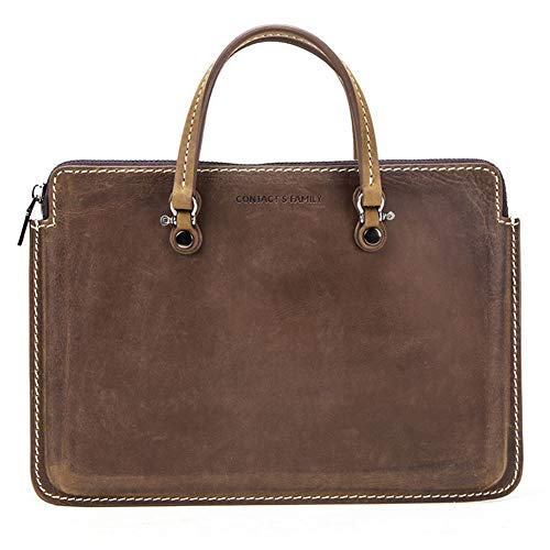 13-13.3 Inch Laptop Sleeve Case Protective Bag, Crazy Horse Genuine Leather Notebook Carrying Case Handbag for Huawei Matebook 13'' /MacBook Pro 13'/Surface Book 13' Tablet/Laptop Bag,Light Brown