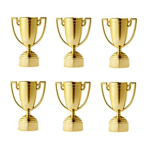 Toyvian 6 Piezas Mini Trofeos de Plástico Juguete Trofeos Dorados de Aprendizaje Temprano para los Niños