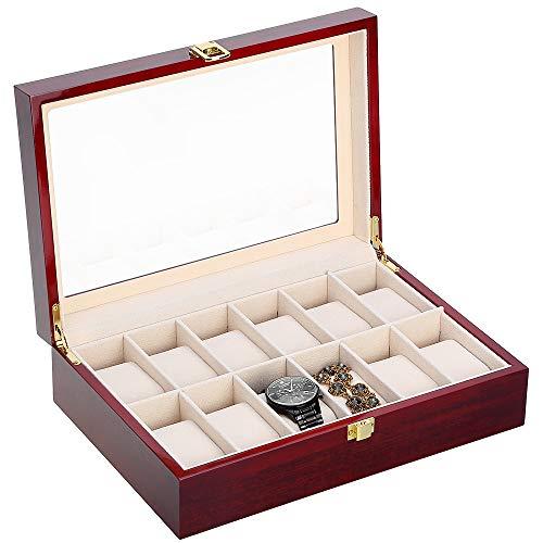 Uhrenbox für 12 Holz Uhrenkasten Schmuckkasten Damen Herren