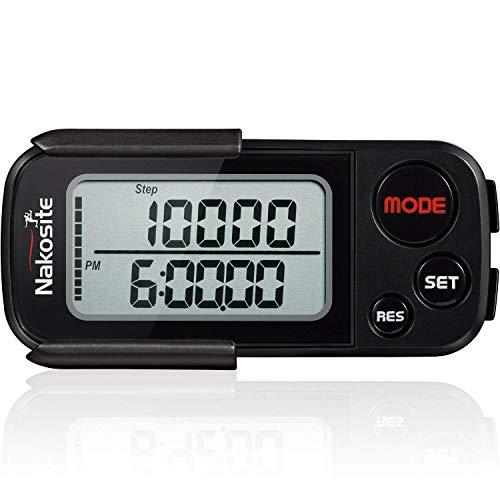 Nakosite BPED 2433 - Podómetro 3D preciso, con clip y correa, rastreador de actividad sin teléfono móvil, aplicación Bluetooth, para mujer, hombre, niños, contador de calorías