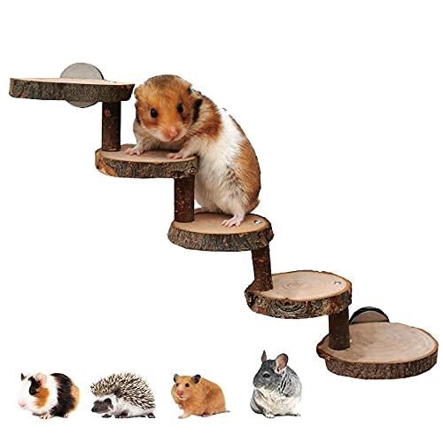 CCYY Escaleras de Madera para Animales Pequeños, Escalera de Madera de Hámster, Plataforma de Hámster de Madera, Adecuado para Hámsters, Ratones, Jerbos, Ratas, Ardillas, Conejillos de Indias, Loros