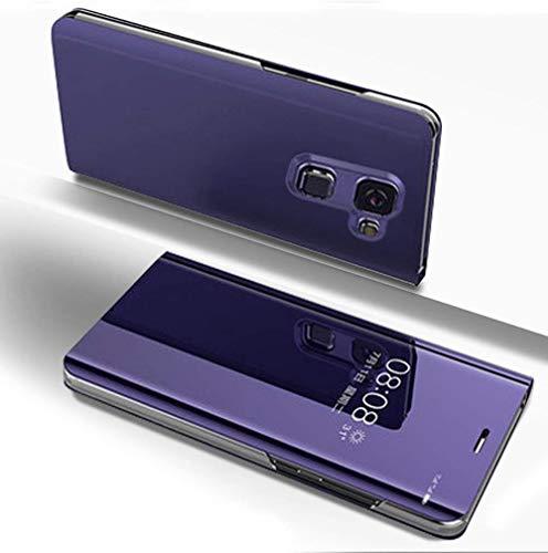 Ostop Étui Placage Miroir Coque pour Samsung Galaxy J6 2018,Fonction Stand Cuir Ultra Mince Transparent à Rabat Housse Magnétique Smart View Fenêtre Avant et Arrière PC Protection-Violet