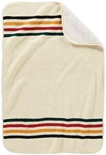 Pendleton Unisex Knit Sherpa Baby Blanket Ivory/Glacier One Size