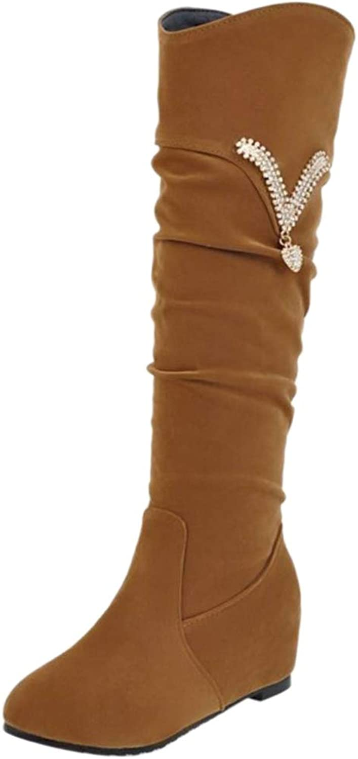 TAOFFEN Women Wedge Heel Knee Boots Pull On
