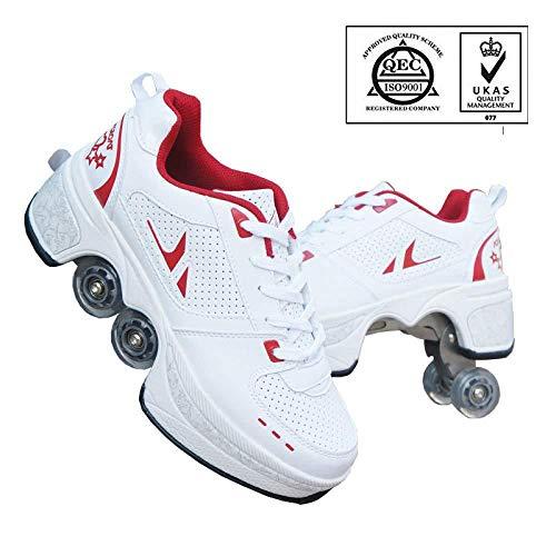 WERTYUH Inline-Skate, 2-in-1-Mehrzweckschuhe Unisex-Rollschuh Verformung,White-38