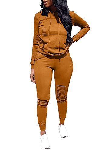 Women Casual Ripped Hole Pullover Hoodie Sweatpants 2 Piece Sport Jumpsuits Outfits Set (Yellow, L)