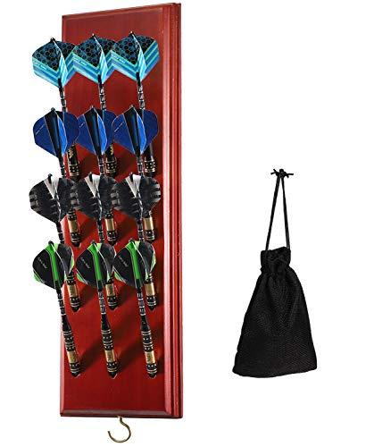 Dart Holz Dartständer für 12 Dartpfeile (4 Set) | Dartständer bieten Platz Clevere Dart Aufbewahrung für die Wand als Dartscheibe & Dartboard zubehör passend für Soft/Steel-Dartpfeile