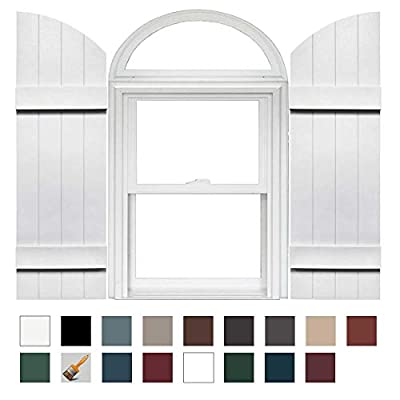 """Mid America Board and Batten 14"""" 4 Board Joined Arch Top Vinyl Shutter (1 Pair)"""