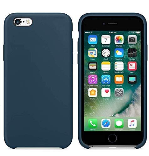 Funda de Silicona Silicone Case para iPhone 6, iPhone 6S, Tacto Sedoso Suave, Carcasa Anti Golpes, Bumper, Forro de Microfibra (Azul Noche)