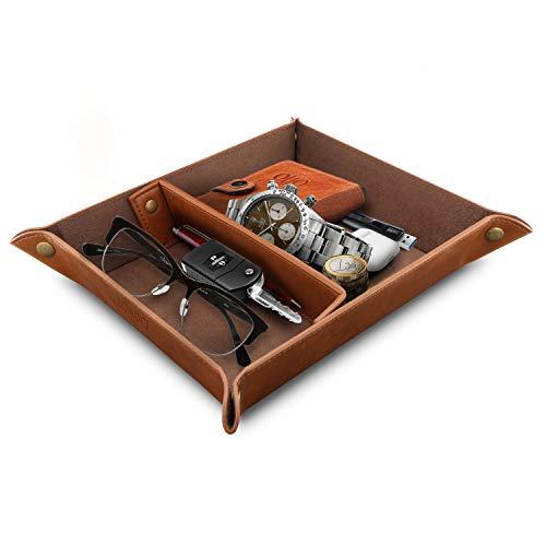 Londo Leder Taschenleerer - Vide Poche - Praktische Aufbewahrungsbox - für Geldbörsen, Uhren, Schlüssel, Münzen, Handys und Büroausstattung (Hellbraun), OTTO201