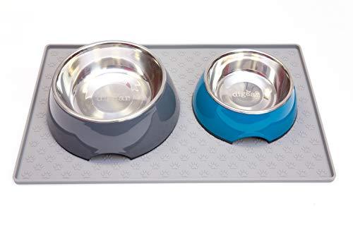 Diggar nap-onderlegger van siliconen 44 x 28,5 cm in grijs hondenapmat antislip voor hond en kat etensnaponderlegger