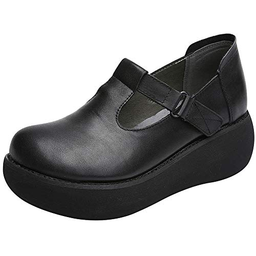 ggudd Damen Plattform Mary Janes Keilabsatz T-Riemen Pumps Schuhe (Schwarz,38 EU)