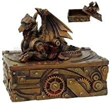 Pacific Giftware PTC 5 Inch Steampunk Dragon Topped Mechanical Box Statue Figurine