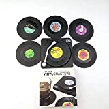 Divine Spear Record Coasters for Drinks, Vinyl Coaster with Record Player Holder, Protect Tabletop and Furniture,Music Lovers Great Gift,Set of 6