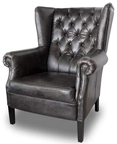 Casa Padrino Chesterfield Butaca de Cuero Buffalo Real Black Solid Wood - Luxury Living Room Furniture - Vintage