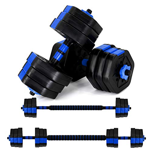 VIVITORY Fitness Dumbbells Set, Adjustable Weight Sets up to 44/66Lbs, Free Weight with Connecting Rod Used As Barbell, Iron Sand Mixture, Hexagon Design (Blue-44 lbs)