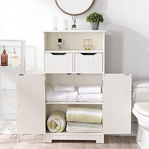 Cozy Castle Bathroom Storage Cabinet, Bathroom Floor Cabinet, CARB Certified Board, Bathroom Towel Storage, Toilet Paper Storage, 43 Inch Tall, White Cabinet