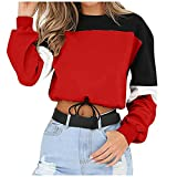 Sudadera para mujer con cordón y cuello redondo, estilo informal, rojo, XXL