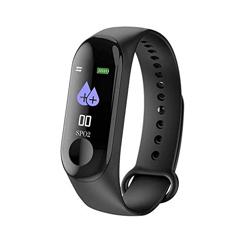 GoRishi M3 Black Sweatproof Smart Fitness Wrist Band with Heart Rate Sensor Pedometer, Sleep Monitoring Blood Pressure Functions Compatible with All Androis & iOS Smartphones (Black)