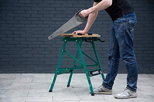 VONROC Établi pliant - Table de serrage - Plan de travail en bambou - Charge maximale de 150kg