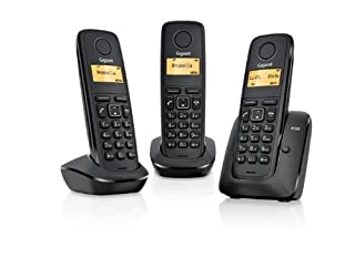 Gigaset A120 TRIO - Basic Cordless Home Phone with 3 Handsets and Energy-Saving ECO DECT Technology - Black (B0083ZSU2Y) | Amazon price tracker / tracking, Amazon price history charts, Amazon price watches, Amazon price drop alerts
