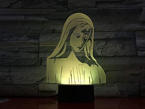 USB3dLED luz nocturna bendita Virgen María figura creyente lámpara de decoración madre madre regalo biblia cruz lámpara de mesa dormitorio