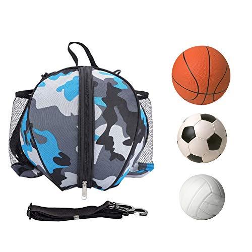 Portatile Pieghevole Basket Storage Bag, con Tracolla Regolabile e Tasche Laterali in Rete per Asciugamano per Sport all'aperto Borsa da Basket Impermeabile Tracolla Pallone da Calcio Bag (Blue)