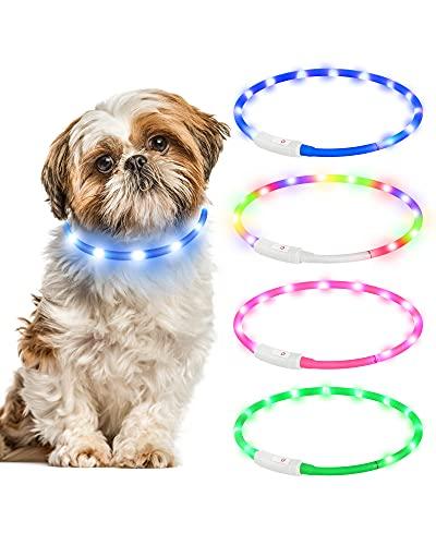 Leuchthalsband Hund,Hunde Halsbänder Wiederaufladbare USB Wasserdicht LED Leuchthalsband 4 Blinkende Lichter Längenverstellbarer Haustier Sicherheit Halsband für Hunde und Katzen(Blau)