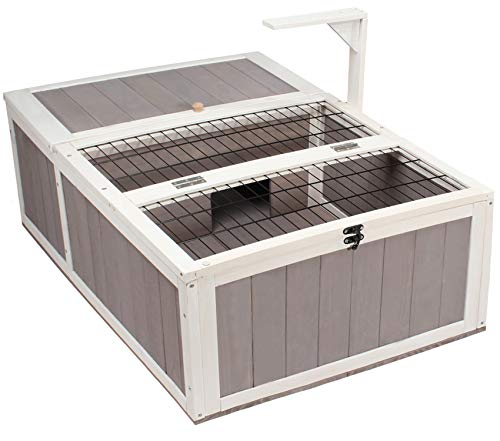 Wooden Tortoise House Reptile Habitat Indoor/ Outdoor, Safe Turtle Box with Wire Grate