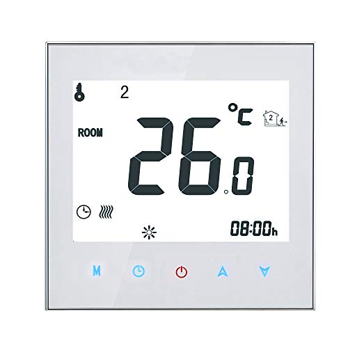 Decdeal Raumthermostat Fußbodenheizung Elektrische Heizung Thermostat 16A 95-240 V Wöchentlich Programmierbares LCD Touchscreen Wandthermostat