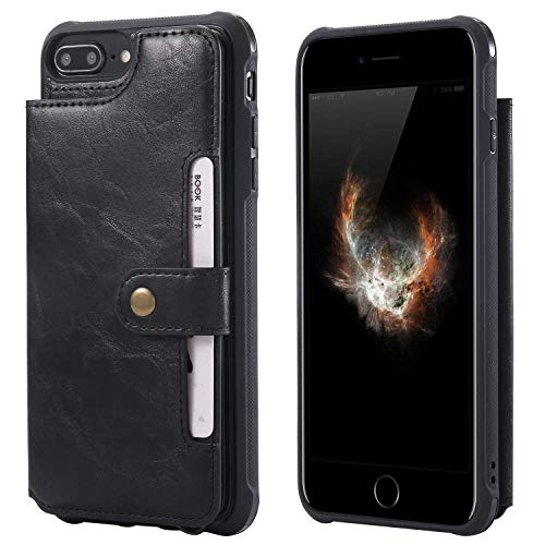 iPhone 6 Plus/iPhone 6S Plus Case, Bear Village Premium PU Leather Case with Card Slot and Wrist Strap, Shockproof Protective Back Cover for Apple iPhone 6 Plus/iPhone 6S Plus, Black