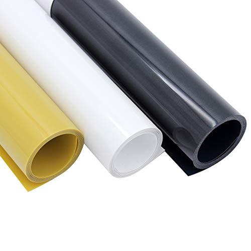 MoYouno Paquete de 3 rollos de vinilo de transferencia de calor de PVC para manualidades, camiseta, ropa, sombrero, textil, Oxford, papel, 30 x 100 cm (negro, blanco, oro)