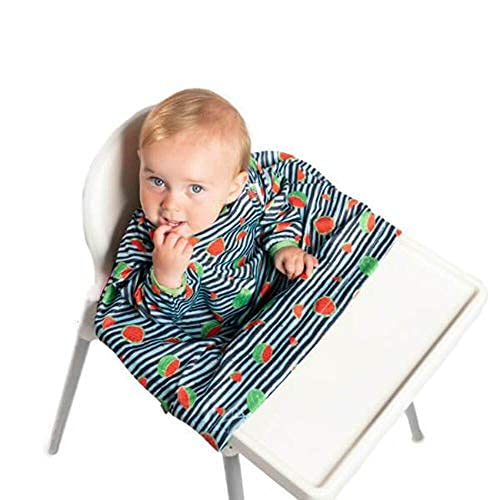 Bibado Wipe Clean Baby & Toddler Weaning Bib Coverall Attaches to Highchair & Table Waterproof (Soft Shell, Navy Watermelon)