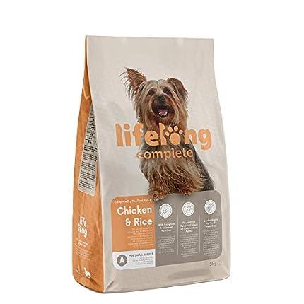 Marca Amazon - Lifelong Complete- Alimento seco completo para perros (razas pequeñas) rico en pollo y arroz, 3 x 3 kg