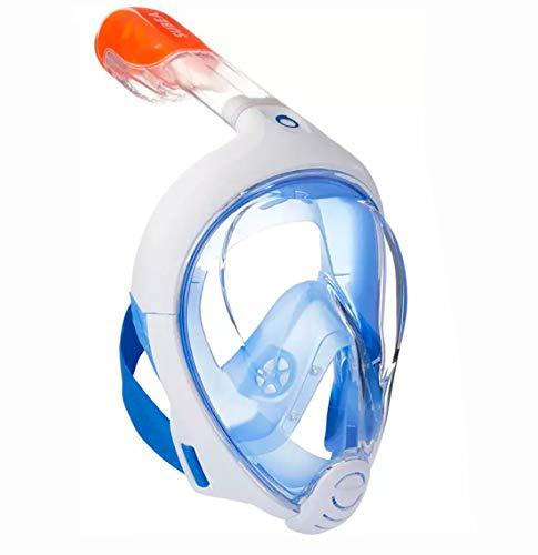EASYBREATH Maschera da Snorkeling 500 Blu per Adulti Misura M-L - Maschera Subacquea Panoramica per Immersioni