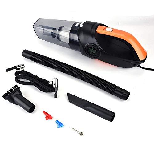 YUQIYU Aspiradora portátil, 4-en-1 coche digital portable del vacío del filtro de aire de la bomba de presión de neumáticos monitorización con polvo seco de captura