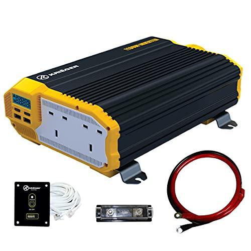 K KRIËGER 1100 Watts Power Inverter 12V to 230V, Modified Sine Wave Car Inverter, Dual 230 Volts...