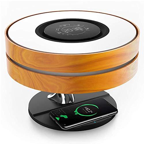 CUIRUI Lámpara de noche HORIZON con altavoz Bluetooth TWS y cargador inalámbrico de 10W, lámpara de mesa con reloj digital, lámpara de escritorio de atenuación rápida y modo de suspensión para durmien